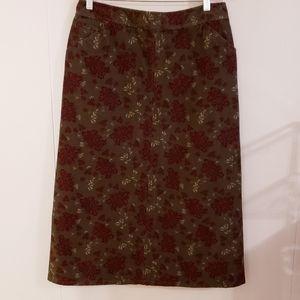 Eddie Bauer Women Skirt Corduroy Maxi Size 8 Green